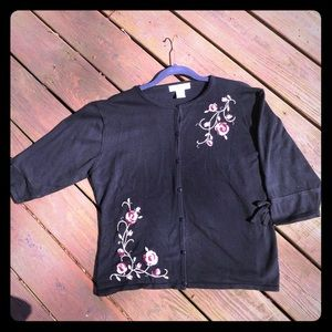 Dress Barn Black cardigan with embroidered flowers